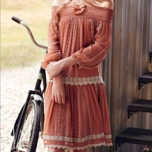 Anthro Floreat Orchard Off the Shoulder Lace Dress